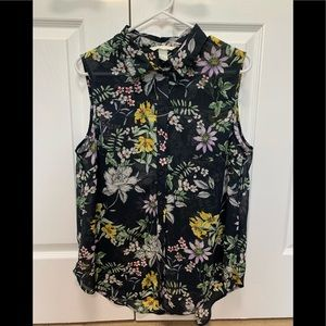 H&M Floral Button Down Tank Top Women's Sz 12